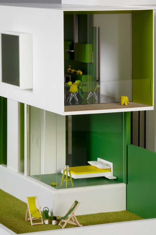 vibrant green dollhouse