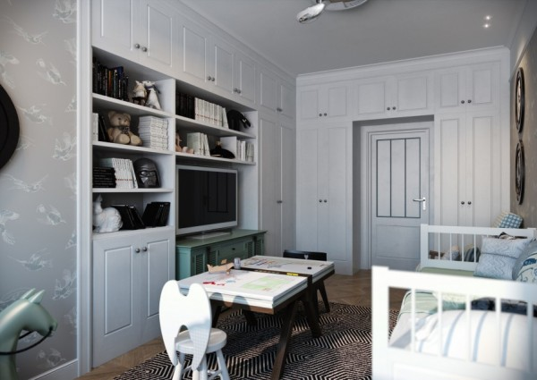 This kids room proves the versatility of the designer from the ultra modern to country chic with massive built in cabinetry and crisp white furniture.