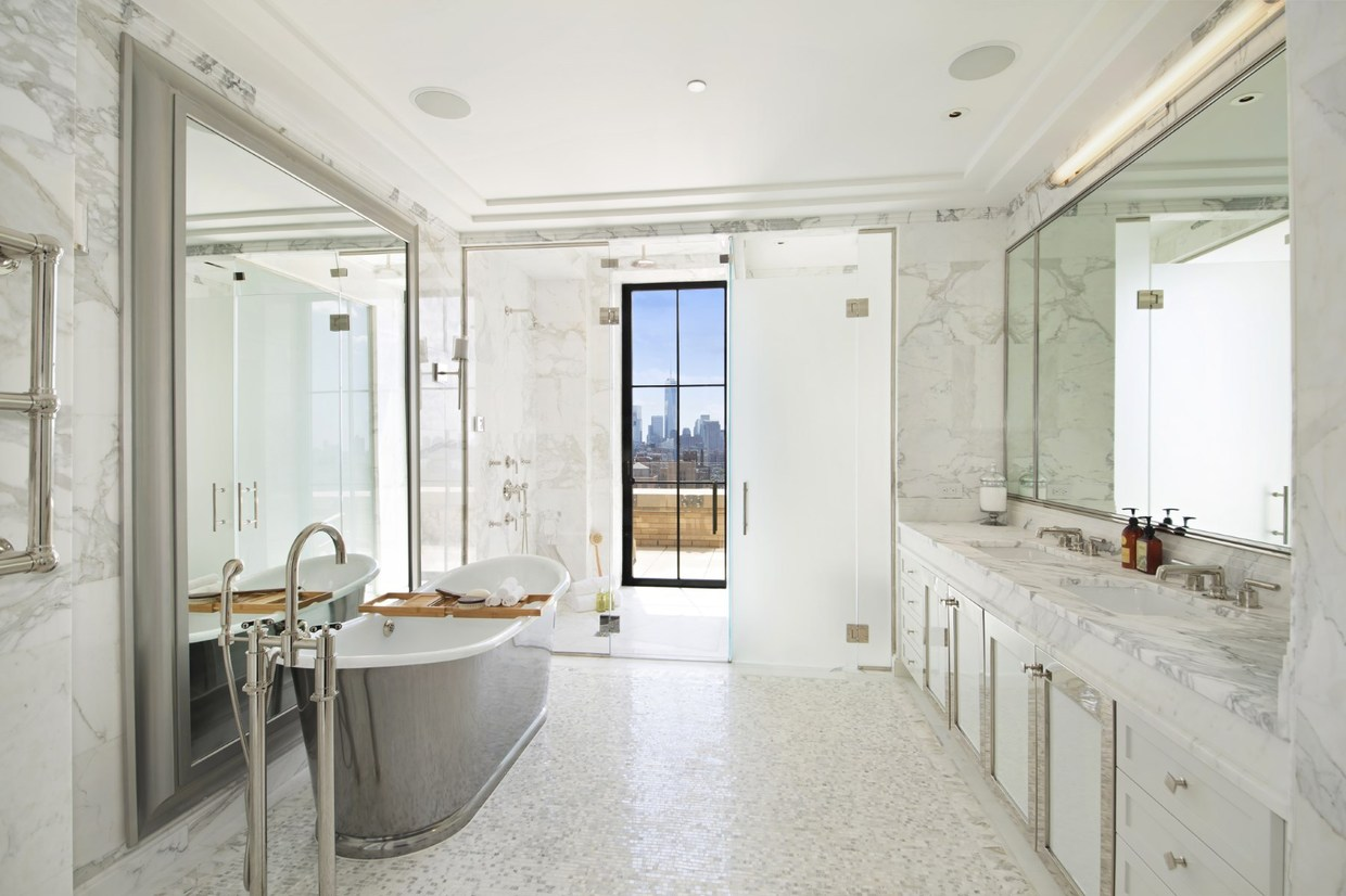 marble and metal bathroom theme