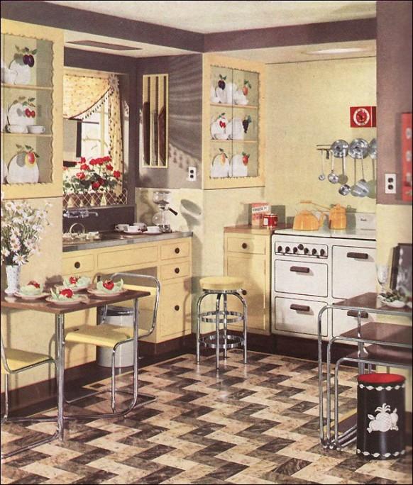 المطبخ الرجعية مع نمط أرضيات 1930s جميع مطبخ الغرض ريترومواضيع