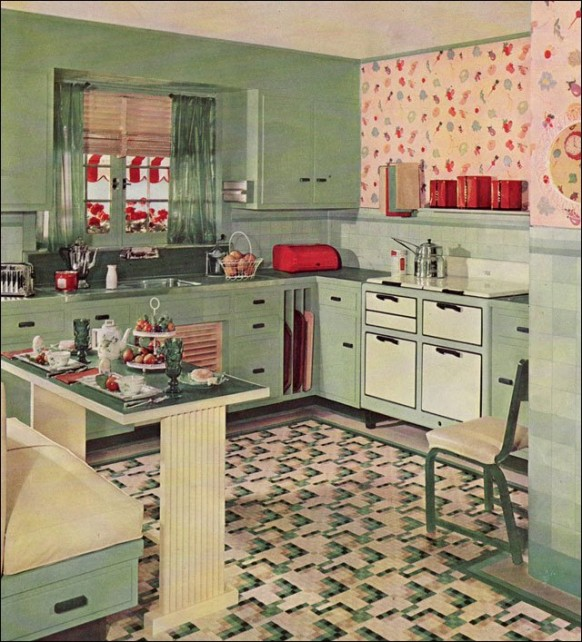 ارمسترونغ 1930 المطبخ 'كروم' 1930 نمط الرجعية المطبخ 1935