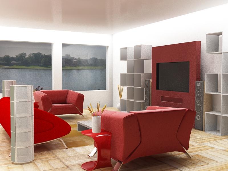 Interesting Modern Living Room Red