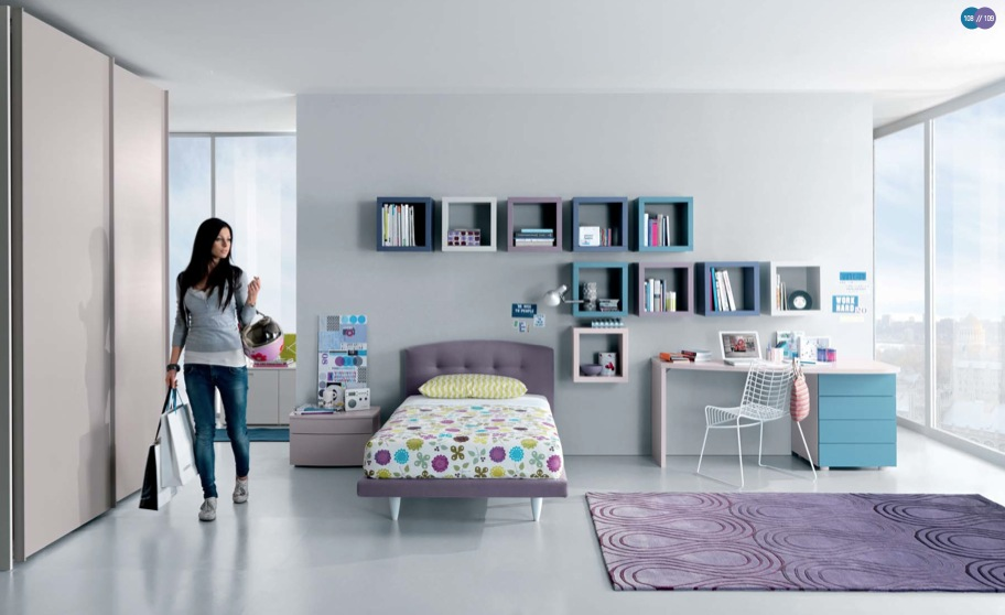 Aqua Lavender White Contemporary Agers Room