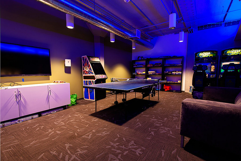 Modern Game Room With Ceiling Mounted