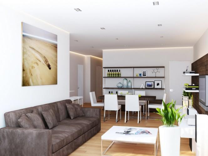 Brown white living room