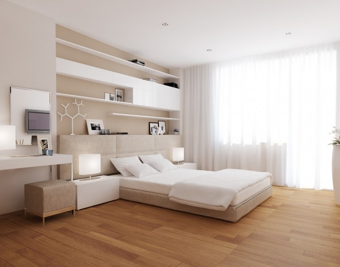 In the bedroom a feature wall has been created in the form of useful storage and shelving, which has been arranged in an asymmetrical pattern above the headboard, almost as a piece of art.