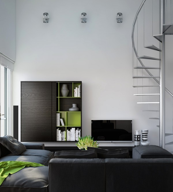 Triple d modern monochrome green apartment living modular lounge